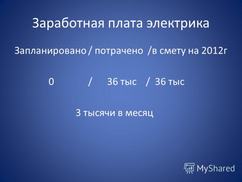 Заработная плата электрика Запланировано / потрачено /в смету на 2012г 0 / 36 тыс / 36 тыс 3 тысячи в месяц