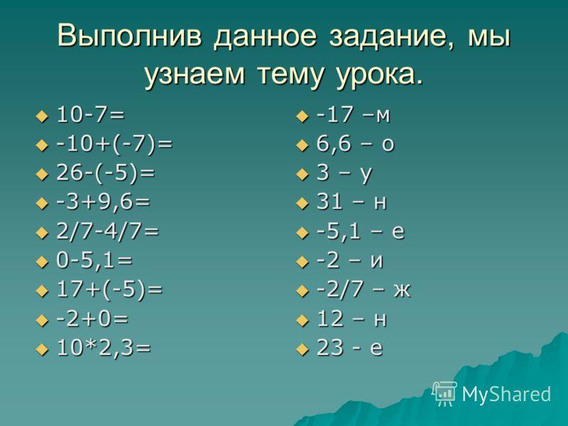 Выполнив данное задание, мы узнаем тему урока. 10-7= 10-7= -10+(-7)= -10+(-7)= 26-(-5)= 26-(-5)= -3+9,6= -3+9,6= 2/7-4/7= 2/7-4/7= 0-5,1= 0-5,1= 17+(-5)= 17+(-5)= -2+0= -2+0= 10*2,3= 10*2,3= -17 –м -17 –м 6,6 – о 6,6 – о 3 – у 3 – у 31 – н 31 – н -5,