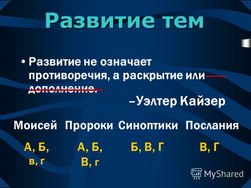 Развитие тем Развитие не означает противоречия, а раскрытие или дополнение. МоисейПророкиСиноптикиПослания А, Б В, Г А, Б, В Б, В, Г