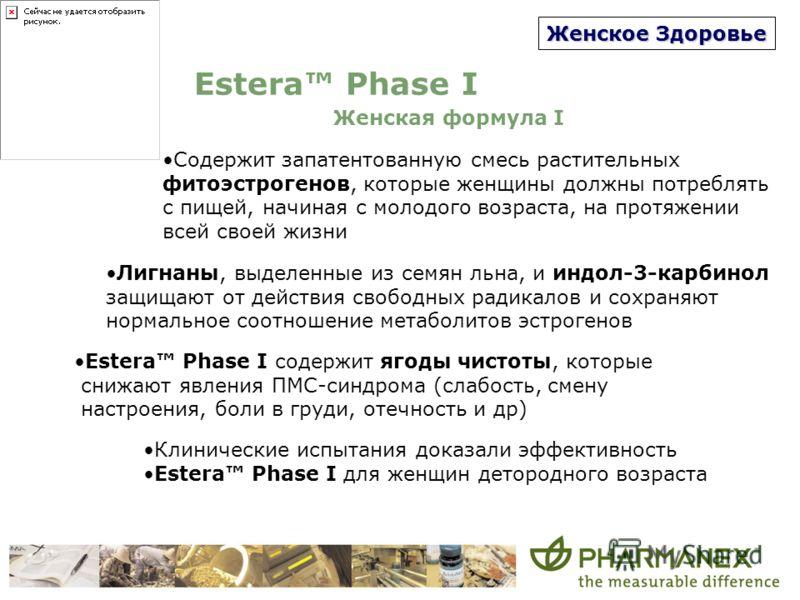Женское Здоровье Estera Phase I Женская формула I Содержит запатентованную смесь растительных фитоэстрогенов, которые женщины должны потреблять с пищей, начиная с молодого возраста, на протяжении всей своей жизни Лигнаны, выделенные из семян льна, и