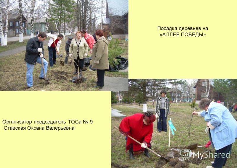 Посадка деревьев на «АЛЛЕЕ ПОБЕДЫ» Организатор председатель ТОСа 9 Ставская Оксана Валерьевна