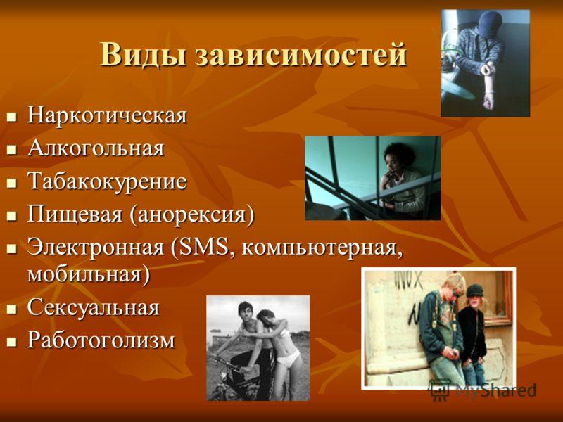 Виды зависимостей Наркотическая Наркотическая Алкогольная Алкогольная Табакокурение Табакокурение Пищевая (анорексия) Пищевая (анорексия) Электронная (SMS, компьютерная, мобильная) Электронная (SMS, компьютерная, мобильная) Сексуальная Сексуальная Ра