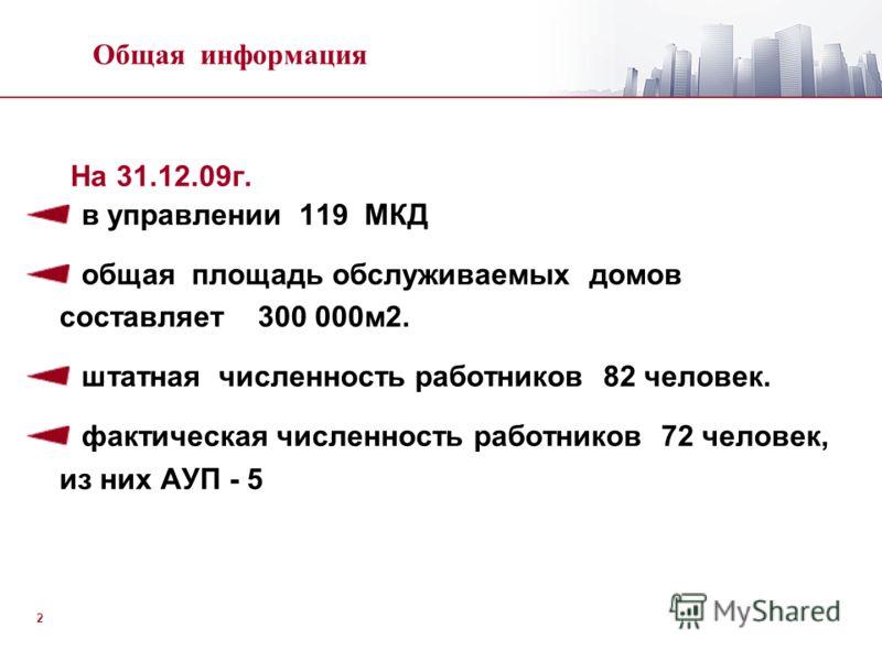 2 На 31.12.09г. в управлении 119 МКД общая площадь обслуживаемых домов составляет 300 000м2. штатная численность работников 82 человек. фактическая численность работников 72 человек, из них АУП - 5 Общая информация