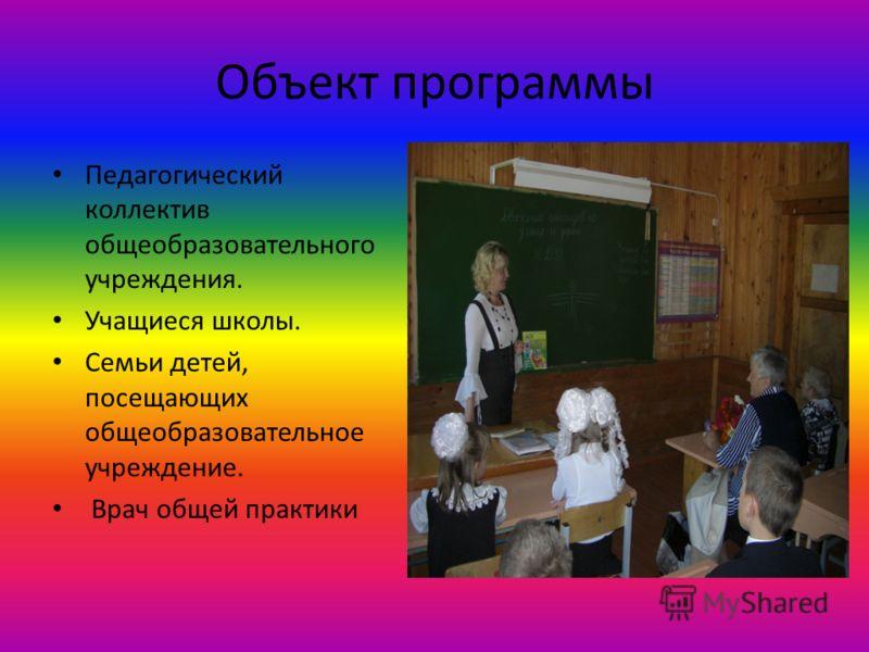 Объект программы Педагогический коллектив общеобразовательного учреждения. Учащиеся школы. Семьи детей, посещающих общеобразовательное учреждение. Врач общей практики