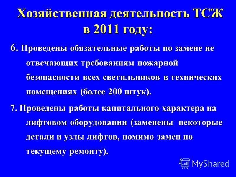Хозяйственная деятельность ТСЖ в 2011 году: 6. Проведены обязательные работы по замене не отвечающих требованиям пожарной безопасности всех светильников в технических помещениях (более 200 штук). 7. Проведены работы капитального характера на лифтовом