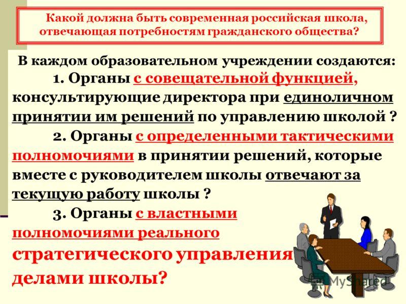 Какой должна быть современная российская школа, отвечающая потребностям гражданского общества? В каждом образовательном учреждении создаются: 1. Органы с совещательной функцией, консультирующие директора при единоличном принятии им решений по управле