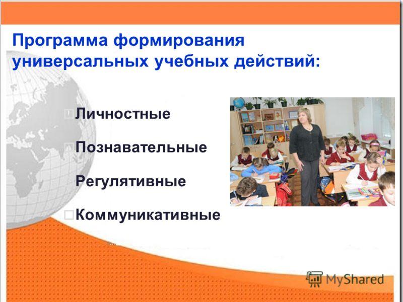 Программа формирования универсальных учебных действий: Личностные Познавательные Регулятивные Коммуникативные