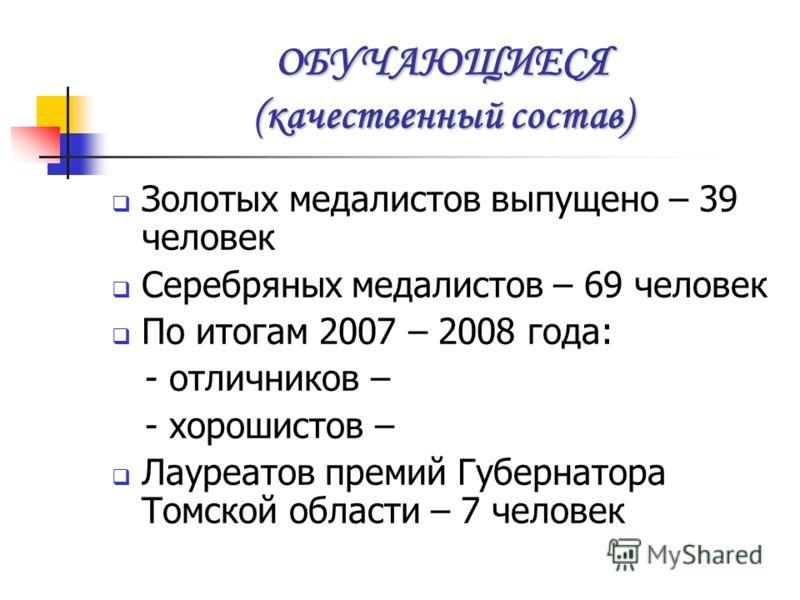 ОБУЧАЮЩИЕСЯ (количественный состав) Учебные годаКоличество учащихся 2006 – 2007 (на 01.09.2006) 868 2007 – 2008 (на 01.09.2007) 876 На 01.09.2008900