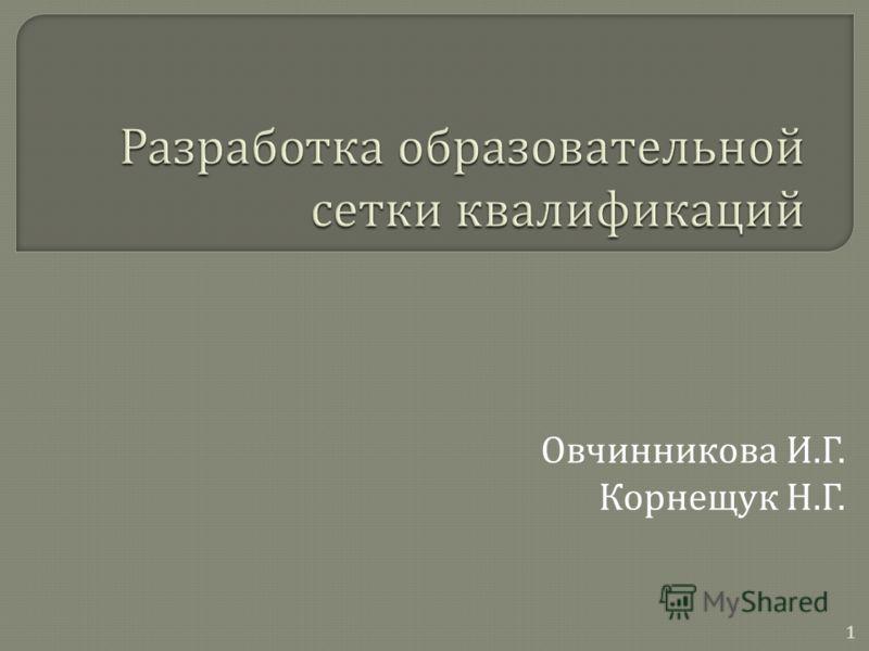 1 Овчинникова И. Г. Корнещук Н. Г.