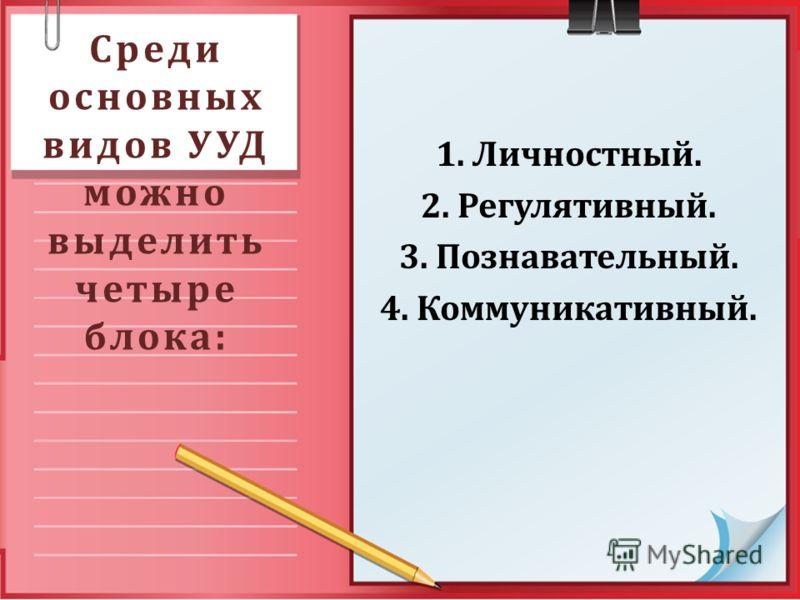 Среди основных видов УУД можно выделить четыре блока: 1. Личностный. 2. Регулятивный. 3. Познавательный. 4. Коммуникативный.