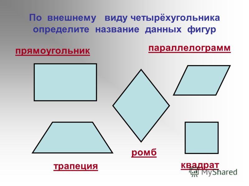 По внешнему виду четырёхугольника определите название данных фигур прямоугольник трапеция квадрат ромб параллелограмм