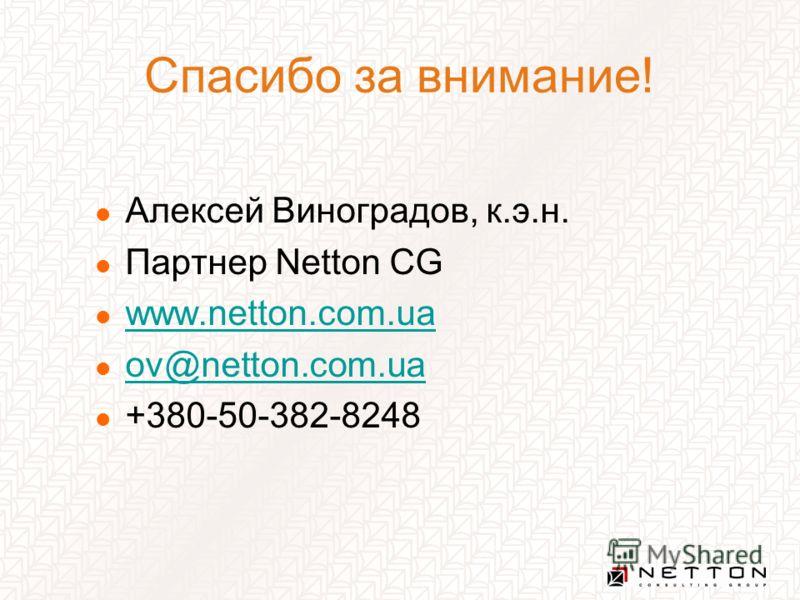 Спасибо за внимание! Алексей Виноградов, к.э.н. Партнер Netton CG www.netton.com.ua ov@netton.com.ua +380-50-382-8248