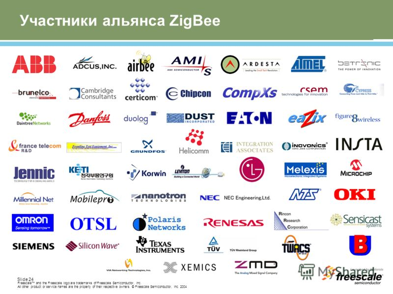 Slide 24 Freescale and the Freescale logo are trademarks of Freescale Semiconductor, Inc. All other product or service names are the property of their respective owners. © Freescale Semiconductor, Inc. 2004 Участники альянса ZigBee