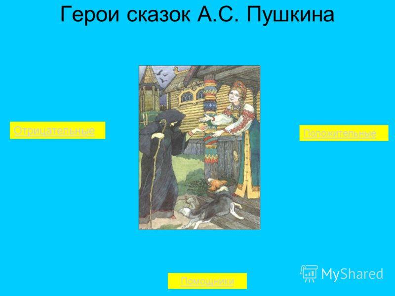 Герои сказок А.С. Пушкина Отрицательные Помощники Положительные