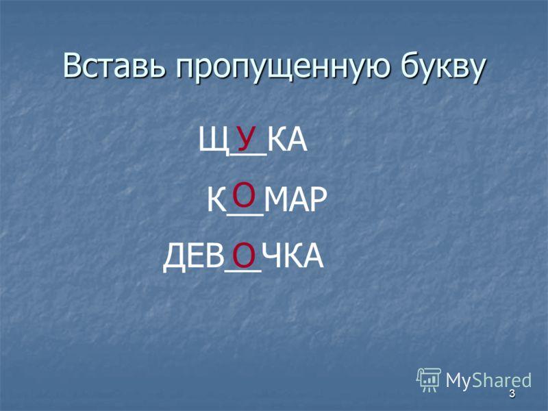 3 Вставь пропущенную букву Щ__КАУ К__МАР О ДЕВ__ЧКАО