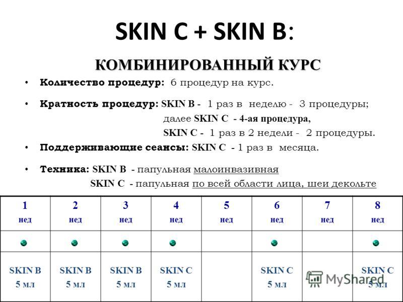 SKIN С + SKIN B : КОМБИНИРОВАННЫЙ КУРС Количество процедур: 6 процедур на курс. SKIN В - Кратность процедур: SKIN В - 1 раз в неделю - 3 процедуры; SKIN С - 4-ая процедура, далее SKIN С - 4-ая процедура, SKIN С - SKIN С - 1 раз в 2 недели - 2 процеду