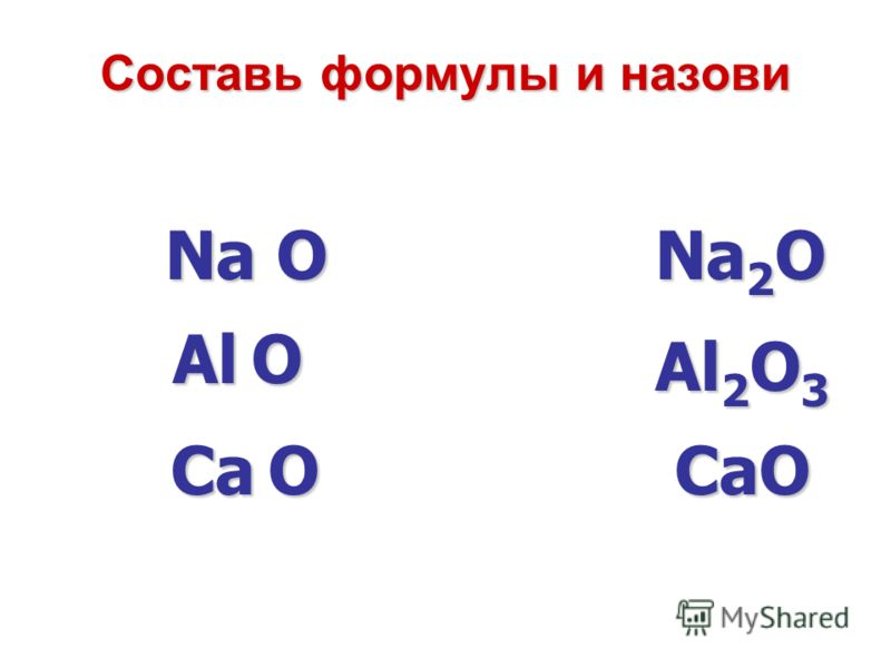 Составь формулы и назови Na O Са O Al O Na 2 O Al 2 O 3 СаO