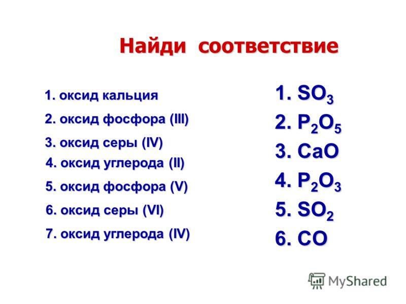 Найди соответствие 1. SO 3 2. P 2 O 5 3. CaO 4. P 2 O 3 5. SO 2 6. CO 6. оксид серы (VI) 1. оксид кальция 2. оксид фосфора (III) 4. оксид углерода (II) 5. оксид фосфора (V) 3. оксид серы (IV) 7. оксид углерода (IV)
