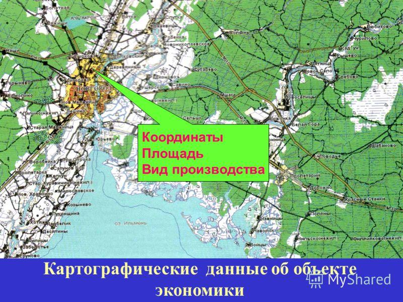 Координаты Площадь Вид производства Картографические данные об объекте экономики