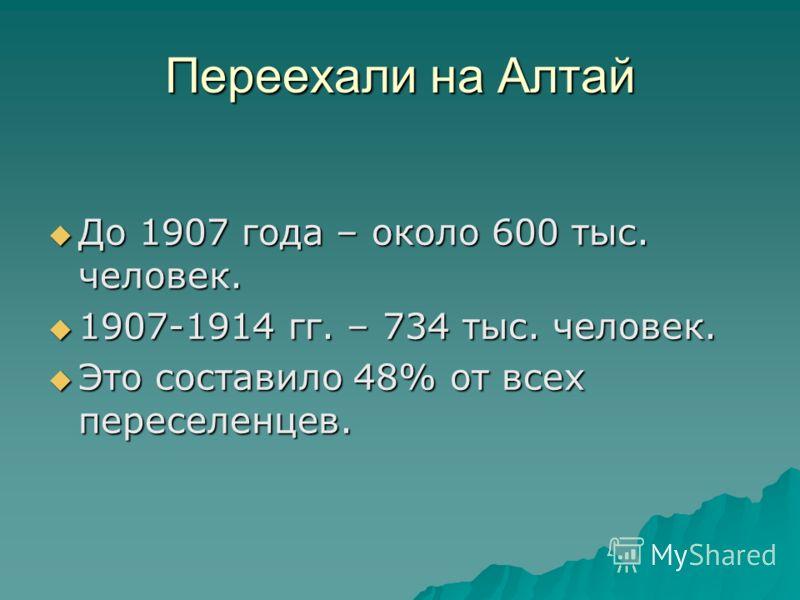 Переехали на Алтай До 1907 года – около 600 тыс. человек. До 1907 года – около 600 тыс. человек. 1907-1914 гг. – 734 тыс. человек. 1907-1914 гг. – 734 тыс. человек. Это составило 48% от всех переселенцев. Это составило 48% от всех переселенцев.