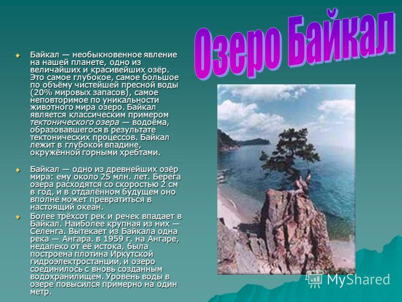 Байкал необыкновенное явление на нашей планете, одно из величайших и красивейших озёр. Это самое глубокое, самое большое по объёму чистейшей пресной воды (20% мировых запасов), самое неповторимое по уникальности животного мира озеро. Байкал является