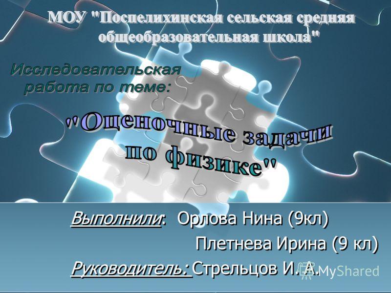 Выполнили: Орлова Нина (9кл) Плетнева Ирина (9 кл) Руководитель: Стрельцов И. А.