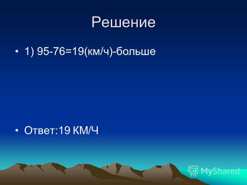 Решение 1) 95-76=19(км/ч)-больше Ответ:19 КМ/Ч