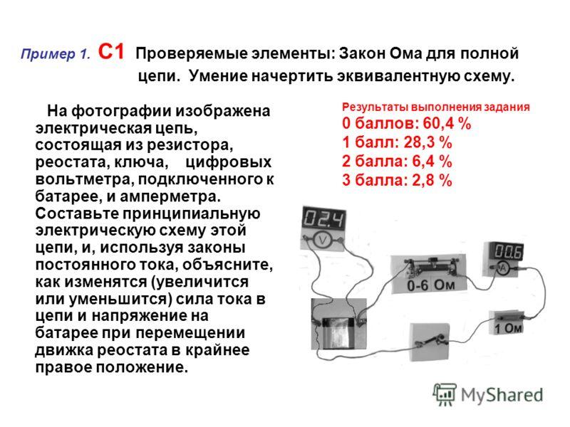 Пример 1. C1 Проверяемые элементы: Закон Ома для полной цепи. Умение начертить эквивалентную схему. На фотографии изображена электрическая цепь, состоящая из резистора, реостата, ключа, цифровых вольтметра, подключенного к батарее, и амперметра. Сост