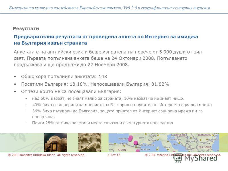 Предварителни резултати от проведена анкета по Интернет за имиджа на България извън страната Българското културно наследство в Европейски контекст, Уеб 2.0 и географиите на културния туризъм © 2008 Vizantia Enterprises Inc. All rights reserved.© 2008
