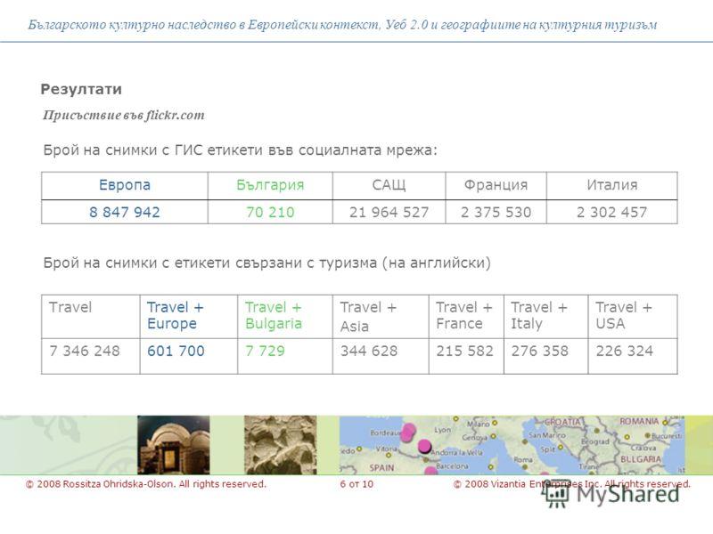Присъствие във flickr.com Българското културно наследство в Европейски контекст, Уеб 2.0 и географиите на културния туризъм © 2008 Vizantia Enterprises Inc. All rights reserved.© 2008 Rossitza Ohridska-Olson. All rights reserved. Резултати ЕвропаБълг