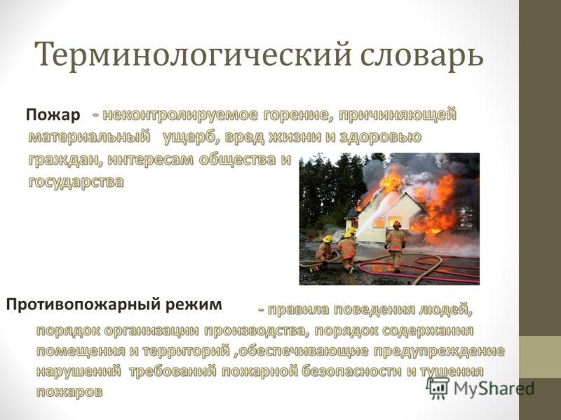 Терминологический словарь Пожар Противопожарный режим