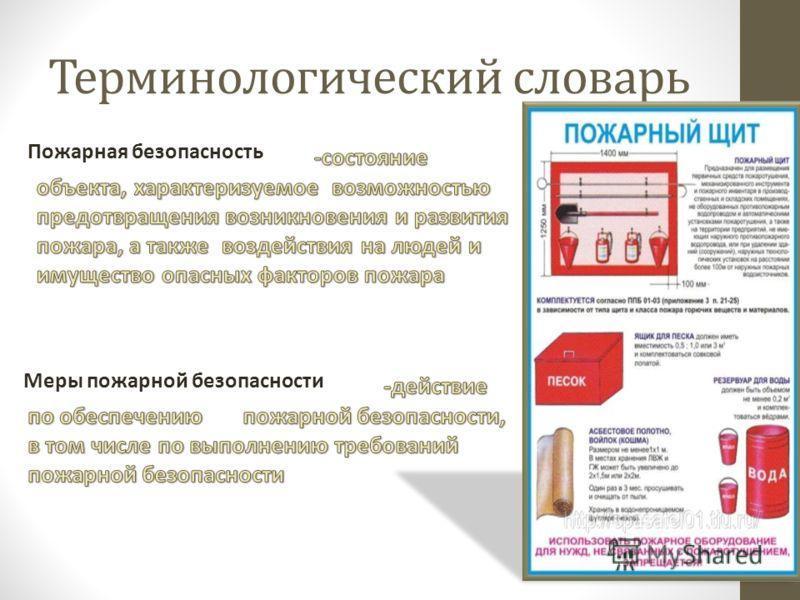 Терминологический словарь Пожарная безопасность Меры пожарной безопасности