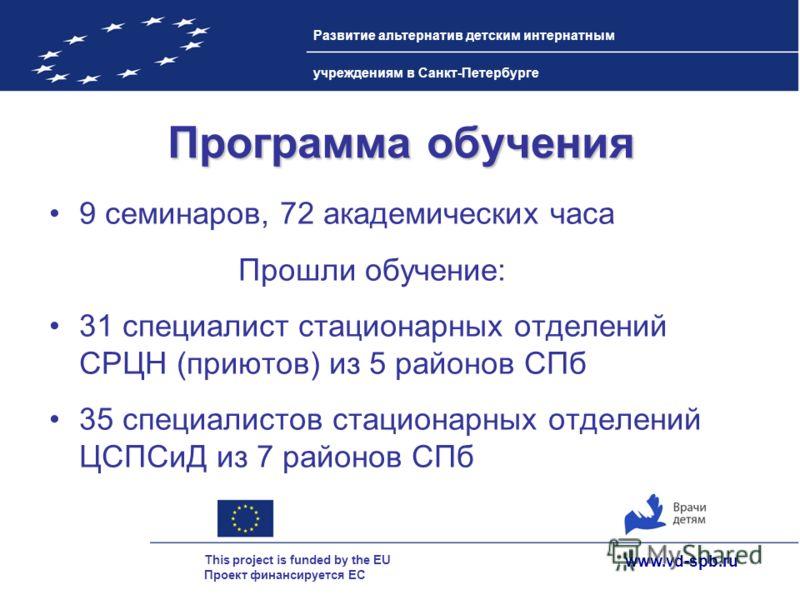 www.vd-spb.ru This project is funded by the EU Проект финансируется ЕС Развитие альтернатив детским интернатным учреждениям в Санкт-Петербурге Программа обучения 9 семинаров, 72 академических часа Прошли обучение: 31 специалист стационарных отделений