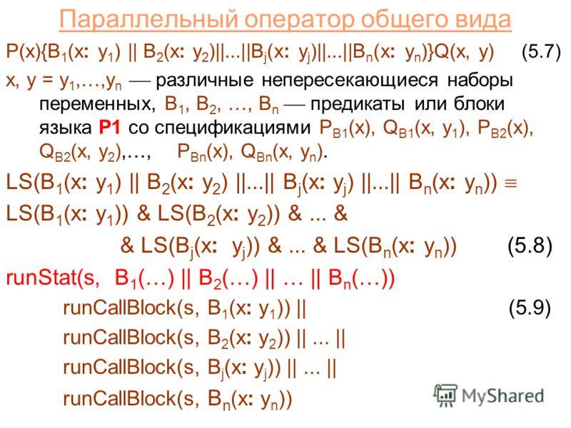 Параллельный оператор общего вида P(x){B 1 (x: y 1 ) || B 2 (x: y 2 )||...||B j (x: y j )||...||B n (x: y n )}Q(x, y) (5.7) x, y = y 1,…,y n различные непересекающиеся наборы переменных, B 1, B 2, …, B n предикаты или блоки языка P1 со спецификациями
