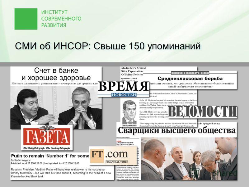 СМИ об ИНСОР: Свыше 150 упоминаний