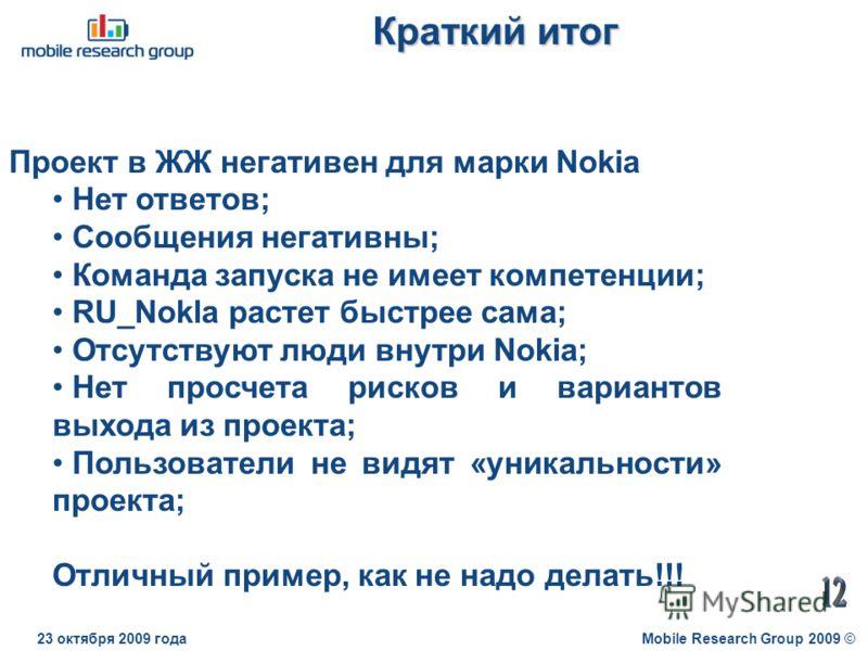 Краткий итог Mobile Research Group 2009 ©23 октября 2009 года Проект в ЖЖ негативен для марки Nokia Нет ответов; Сообщения негативны; Команда запуска не имеет компетенции; RU_Nokla растет быстрее сама; Отсутствуют люди внутри Nokia; Нет просчета риск