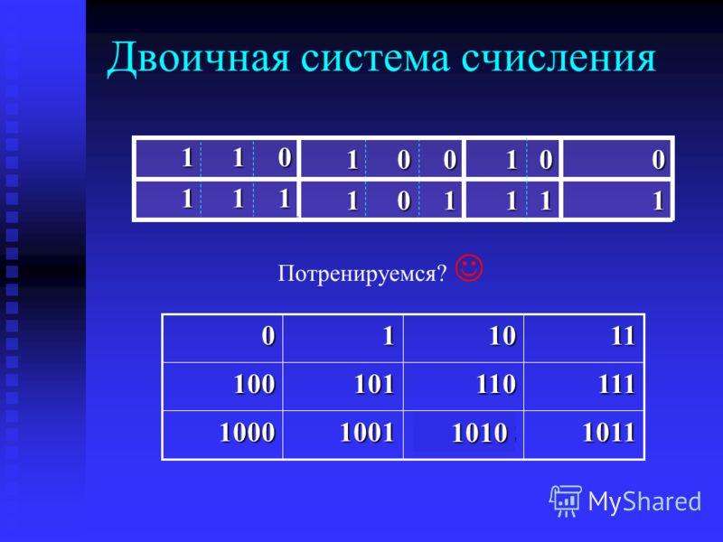 Двоичная система счисления 1 1 0 0 1 0 1 0 11 01 1 1 1 1 1 0 1011100210011000 111110101100 111010 1010 Потренируемся?