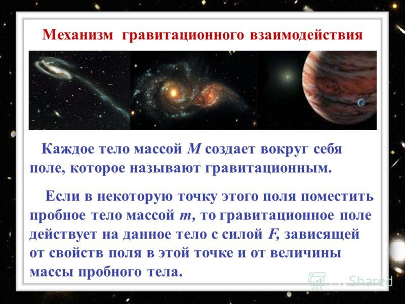 Каждое тело массой М создает вокруг себя поле, которое называют гравитационным. Если в некоторую точку этого поля поместить пробное тело массой т, то гравитационное поле действует на данное тело с силой F, зависящей от свойств поля в этой точке и от