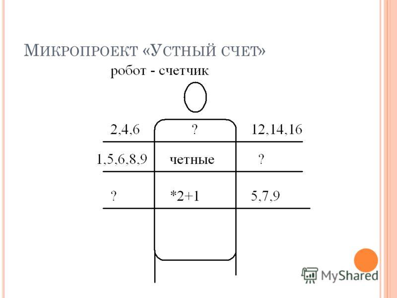 М ИКРОПРОЕКТ «У СТНЫЙ СЧЕТ »