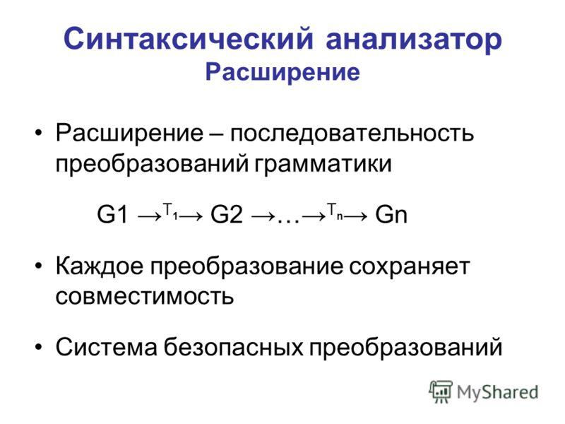 Синтаксический анализатор Расширение Расширение – последовательность преобразований грамматики G1 T 1 G2 … T n Gn Каждое преобразование сохраняет совместимость Система безопасных преобразований