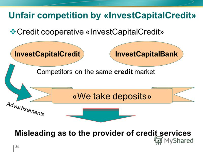 34 Unfair competition by «InvestCapitalCredit» Credit cooperative «InvestCapitalCredit» InvestCapitalCreditInvestCapitalBank Competitors on the same credit market Misleading as to the provider of credit services «We take deposits» Advertisements