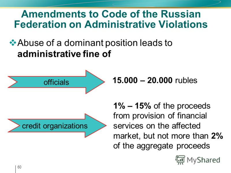 60 Amendments to Code of the Russian Federation on Administrative Violations Abuse of a dominant position leads to administrative fine of 15.000 – 20.000 rubles 1% – 15% of the proceeds from provision of financial services on the affected market, but