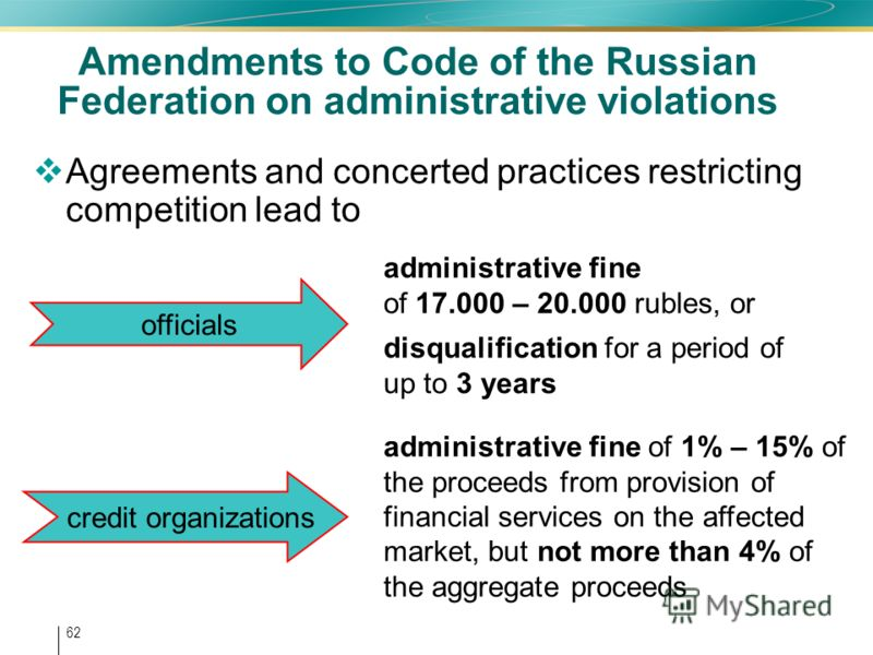 62 Amendments to Code of the Russian Federation on administrative violations Agreements and concerted practices restricting competition lead to administrative fine of 17.000 – 20.000 rubles, or disqualification for a period of up to 3 years administr