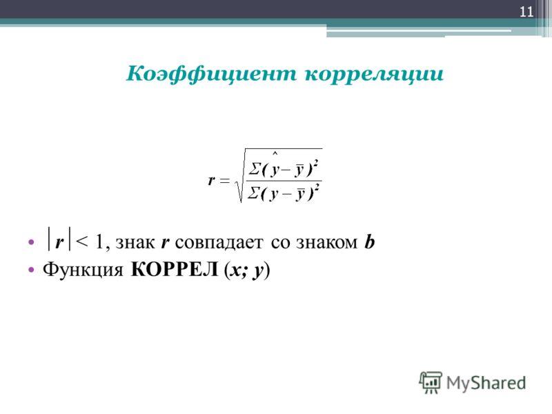 r < 1, знак r совпадает со знаком b Функция КОРРЕЛ (x; y) 11 Коэффициент корреляции