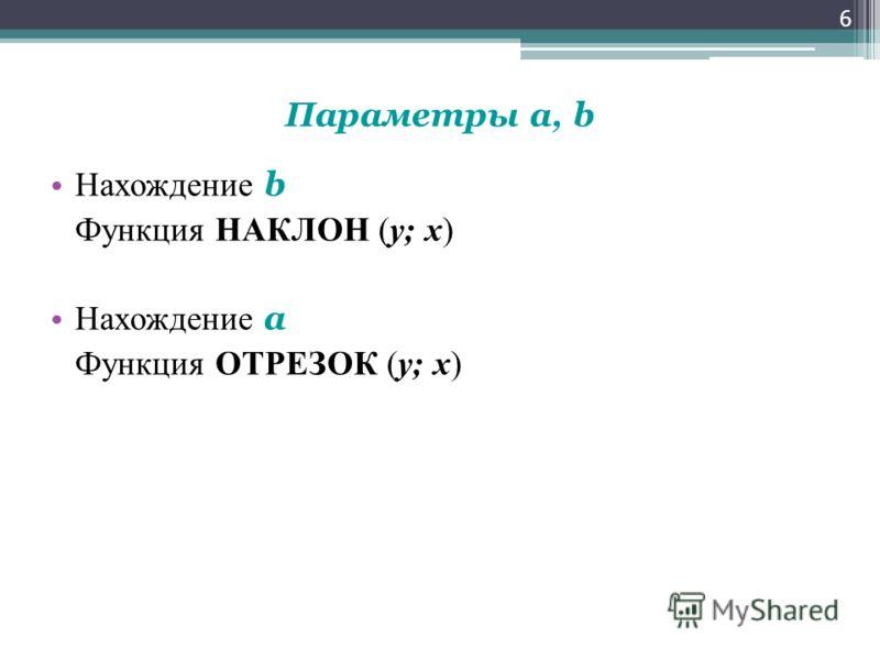 Параметры a, b Нахождение b Функция НАКЛОН (y; x) Нахождение a Функция ОТРЕЗОК (y; x) 6
