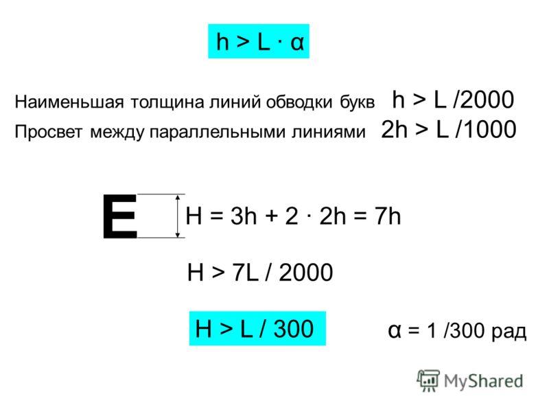 h > L · α Наименьшая толщина линий обводки букв h > L /2000 Просвет между параллельными линиями 2h > L /1000 Е H = 3h + 2 · 2h = 7h H > 7L / 2000 H > L / 300 α = 1 /300 рад