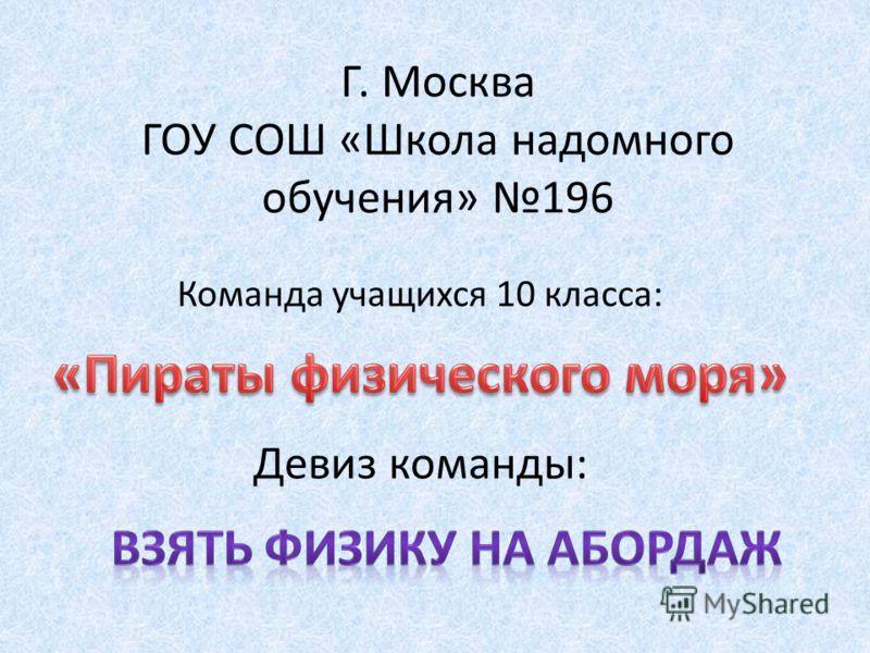 Г. Москва ГОУ СОШ «Школа надомного обучения» 196 Команда учащихся 10 класса: Девиз команды: