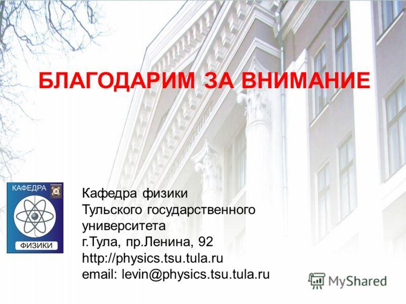 БЛАГОДАРИМ ЗА ВНИМАНИЕ Кафедра физики Тульского государственного университета г.Тула, пр.Ленина, 92 http://physics.tsu.tula.ru email: levin@physics.tsu.tula.ru