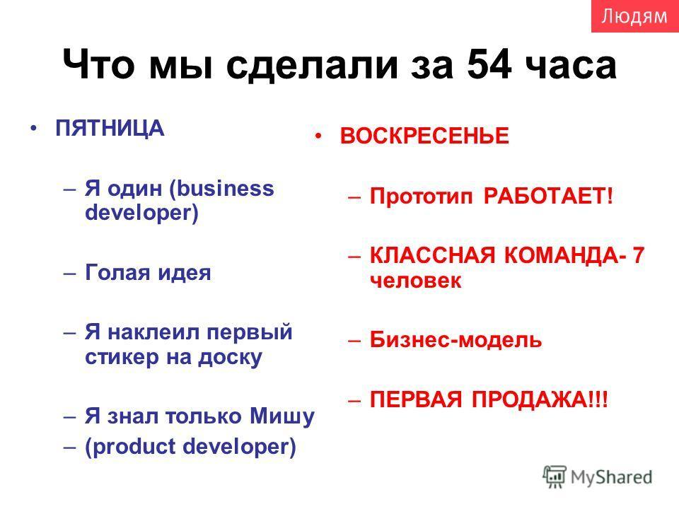 Что мы сделали за 54 часа ПЯТНИЦА –Я один (business developer) –Голая идея –Я наклеил первый стикер на доску –Я знал только Мишу –(product developer) ВОСКРЕСЕНЬЕ –Прототип РАБОТАЕТ! –КЛАССНАЯ КОМАНДА- 7 человек –Бизнес-модель –ПЕРВАЯ ПРОДАЖА!!!