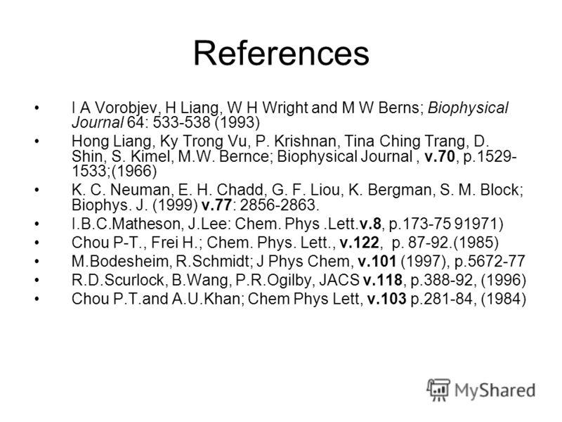 References I A Vorobjev, H Liang, W H Wright and M W Berns; Biophysical Journal 64: 533-538 (1993) Hong Liang, Ky Trong Vu, P. Krishnan, Tina Ching Trang, D. Shin, S. Kimel, M.W. Bernce; Biophysical Journal, v.70, p.1529- 1533;(1966) K. C. Neuman, E.